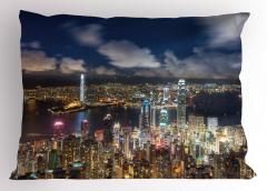 Hong Kong Limanı Yastık Kılıfı Gökdelenler