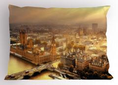 Londra'ya Havadan Bakış Yastık Kılıfı Gün Doğumu Sarı