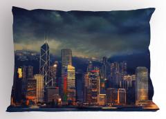 Fırtınalı Hava Yastık Kılıfı Hong Kong Lacivert