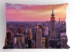New York Manzarası Yastık Kılıfı Ufuk Çizgisi Turuncu