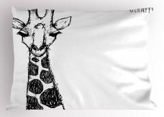 Kara Kalem Zürafa Figürü Yastık Kılıfı Afrika Kara Kıta