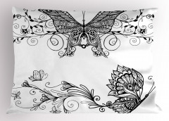 Zarif Kelebek Desenli Yastık Kılıfı Şık Tasarım Siyah