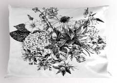 Siyah Beyaz Buket Yastık Kılıfı Çiçek Dekoratif