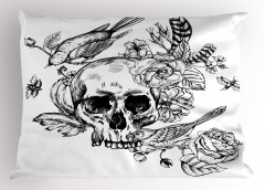 Kuru Kafa Çiçek ve Kuş Yastık Kılıfı Siyah Beyaz