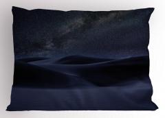 Mavi Kum Tepeleri Yastık Kılıfı Yıldızlı Gökyüzü