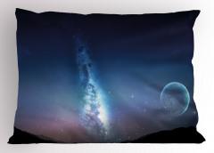 Yıldızlar ve Ay Yastık Kılıfı Lacivert Gökyüzü