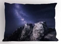 Gri Kayalar Yastık Kılıfı Doğa Yıldızlı Gökyüzü
