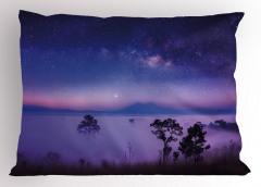 Mavi Yıldızlı Gökyüzü Yastık Kılıfı Mor Sis Ağaç
