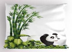 Sevimli Panda ve Bambu Yastık Kılıfı Sevimli Panda Bambu Ağacı