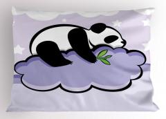 Bulut Üstündeki Panda Yastık Kılıfı Bulut Üzerinde Panda Mor