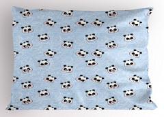 Mutlu Panda Desenli Yastık Kılıfı Komik Mutlu Panda Desenli