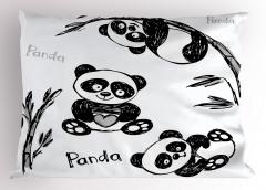 Bebek Panda Desenli Yastık Kılıfı Bebek Panda Bambu Ağacı