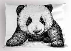 Bebek Panda Yastık Kılıfı Siyah Beyaz Sanat