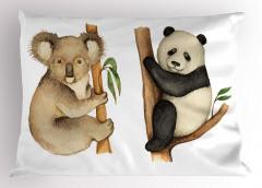 Sevimli Koala ve Panda Yastık Kılıfı Sevimli Koala ve Panda