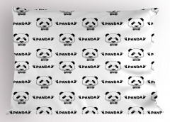 Şirin Panda Portreli Yastık Kılıfı Siyah Beyaz Şık Tasarım
