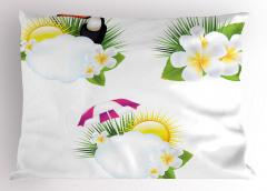 Tropik Çiçek ve Kuş Yastık Kılıfı Beyaz Dekoratif