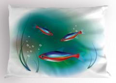 Kırmızı Mavi Balık Yastık Kılıfı Deniz Dekoratif