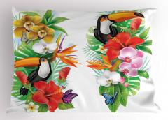 Egzotik Kuş ve Çiçekler Yastık Kılıfı Rengarenk Şık