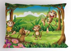 Sevimli Maymunlar Yastık Kılıfı Kahverengi Yeşil