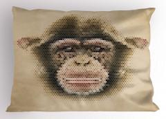 Maymun Yüzü Desenli Yastık Kılıfı Bej Dekoratif