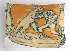 Kanguruyla Boks Maçı Yastık Kılıfı Bej Turuncu