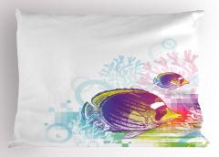 Rengarenk Balık Desenli Yastık Kılıfı Rengarenk Balık