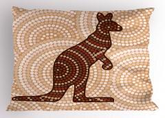 Kanguru Figürlü Yastık Kılıfı Kanguru Figürü Modern Sanat
