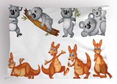 Sevimli Koala Kanguru Yastık Kılıfı Sevimli Koala ve Kanguru