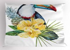 Şık Tropik Tasarımlı Yastık Kılıfı Tropikal Simgeler Çiçek