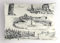 İtalya Mimarisi Yastık Kılıfı Pisa Kulesi Roma Venedik