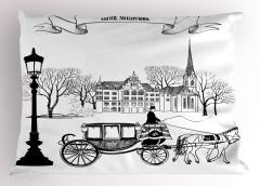 Nostaljik Şehir Yastık Kılıfı Antik Siyah Beyaz