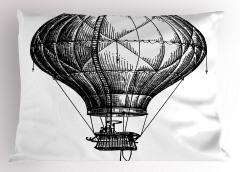 Sıcak Hava Balonu Yastık Kılıfı Siyah Beyaz