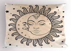 Güneş Ay ve Yıldızlar Yastık Kılıfı Güneş Ay ve Yıldızlar Rüya Retro