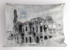 Kolezyum Baskılı Yastık Kılıfı İtalya Orta Çağ Beyaz