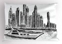 Modern Şehir Yastık Kılıfı Gökdelenler Tekne