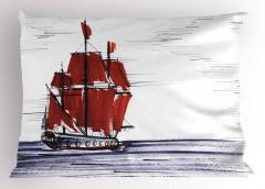 Denizdeki Yelkenli Yastık Kılıfı Mavi Kırmızı