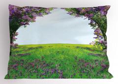 Mor Çiçekli Kır Yastık Kılıfı Doğa Dekoratif