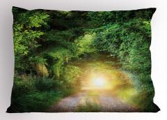 Orman Yolu Manzarası Yastık Kılıfı Yeşil Ağaç Doğa