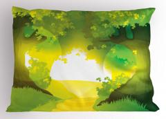 Güneşli Yoldaki Ağaçlar Yastık Kılıfı Sarı Yeşil