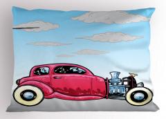 Pembe Araba Desenli Yastık Kılıfı Mavi Gökyüzü
