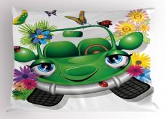 Mavi Gözlü Araba Yastık Kılıfı Yeşil Kelebek Çiçek