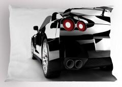Gri Spor Araba Yastık Kılıfı Beyaz Fon Dekoratif