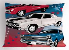 Rengarenk Arabalar Yastık Kılıfı Kırmızı Beyaz Mavi