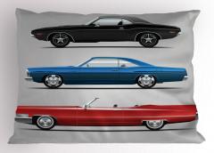 Rengarenk Araba Desenli Yastık Kılıfı Gri Fonlu Şık