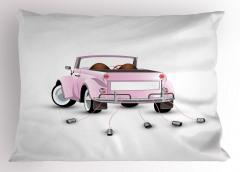 Evlilik Temalı Romantik Yastık Kılıfı Romantik Pembe Araba