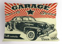 Kara Kalem Araba Yastık Kılıfı Karakalem Araba Retro Turuncu