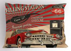 Nostaljik Poster Etkili Yastık Kılıfı Retro Kırmızı