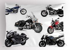 Gri Motosiklet Desenli Yastık Kılıfı Beyaz Fon