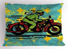 Kırmızı Motosiklet Yastık Kılıfı Yeşil Turkuaz