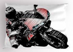 Motosiklet Yarışçısı Yastık Kılıfı Siyah Dekoratif